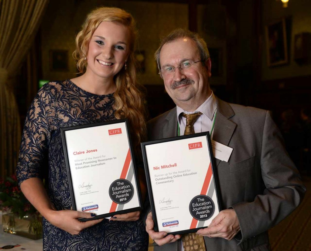 Nic Mitchell, with Claire Jones, at the CIPR Education Journalism Awards 2013