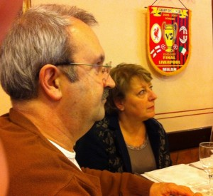 Nic Mitchell with EUPRIO President-elect Christine Legrand preparing to 'feast' at a traditional Milanese restaurant