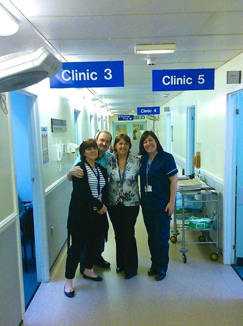 Nic with the specialist colorectal nursing team: Sarah Carroll (L), Angela Stanley (centre) and Tracey Pugh (right)