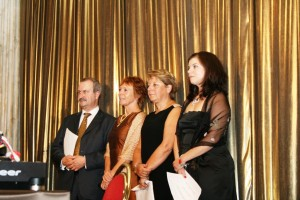 Nic, left, with other EUPRIO Award winners at the Prague conference 2011.