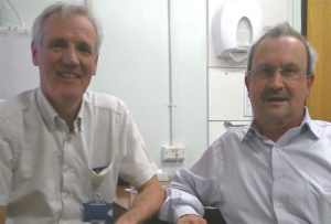 Consultant oncologist Dr Hans Van der Voet, left, with Nic before his operation.