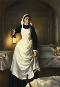Illustration of Florence Nightingale Holding Lamp