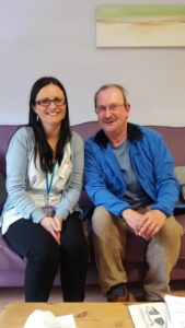 Nic with Heather McLean, manager at the Trinity Holistic Centre, Middlesbrough