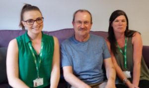 Nic, with cancer care coordinators Laura Barlow (L) and Linsey Woodhouse